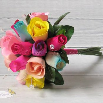 Wooden Rose Multi-Color Flower Girl Bouquet with Diamante Pins