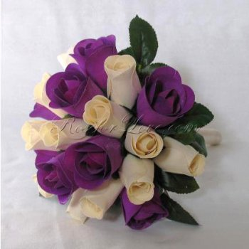 Wooden Rose White and Purple Bridesmaid Bouquet