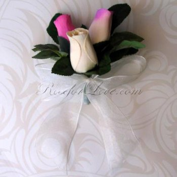 Wooden Rose White and Lavender Corsage