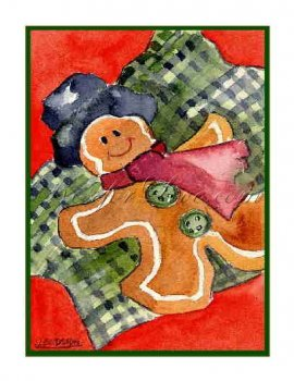 8 Watercolor Christmas Gingerbread Man Greeting Note Cards