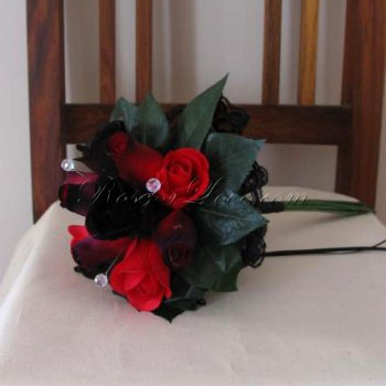 Wooden Rose Red and Black Flower Girl Bouquet with Diamante Pins