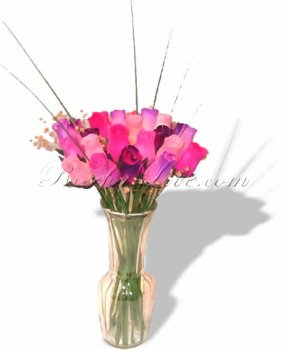 Bouquet of Wooden Rose Large Buds - Springtime Pink