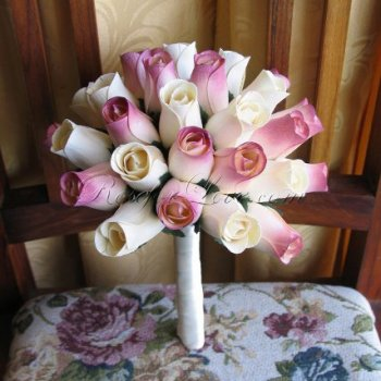 Wooden Rose White and Light Pink Bridesmaid Bouquet
