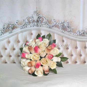 Wooden Rose White and Light Pink Bridal Bouquet with Diamante Pi