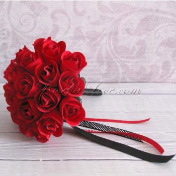 Wooden Rose Red Bridesmaid Bouquet