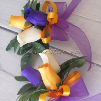 Wooden Rose Tri-Color Corsage (a Set of 2)