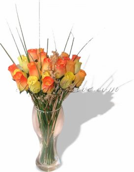 Bouquet of Wooden Rose Large Buds - Fiery Passion