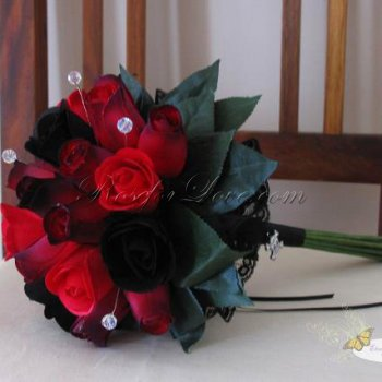 Wooden Rose Red and Black Bridesmaid Bouquet with Diamante Pins