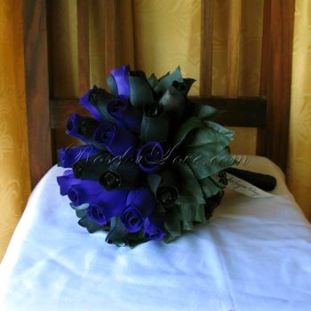 Wooden Rose Blue and Black Bridal Bouquet
