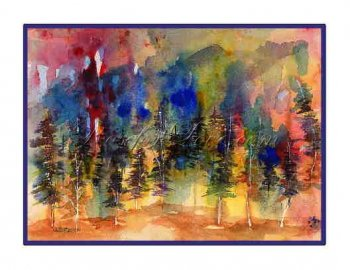8 Watercolor Abstract Fiery Forest Greeting Note Cards