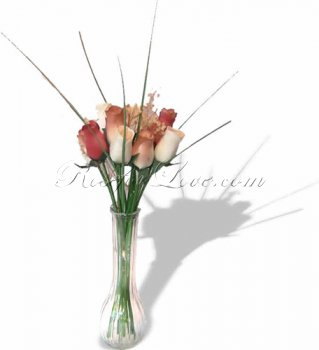 Bouquet of Wooden Rose Large Buds - Old Fashion