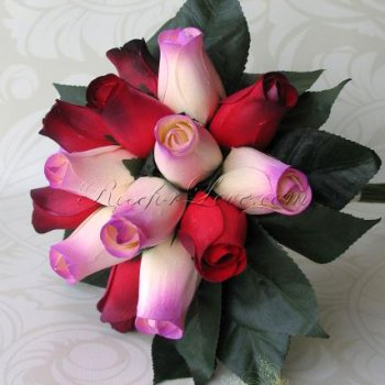 Wooden Rose Red and Lavender Throw Bouquet