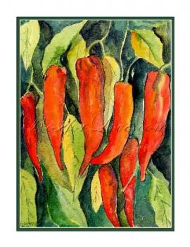 8 Watercolor Red Chili Peppers Greeting Note Cards
