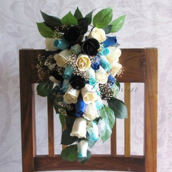 Wooden Rose White and Black Bridal Teardrop Bouquet with Baby's