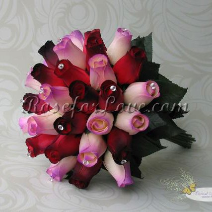 Wooden Rose Red and Lavender Bridal Bouquet with Diamante Pins - Click Image to Close