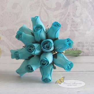 Wooden Rose Blue Flower Girl Bouquet