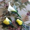 Wooden Rose White Calla Lily Corsage and Buttonholes (a Set of 3