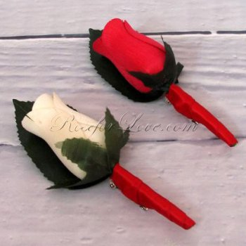 Wooden Rose White and Red Buttonholes (a Set of 2)