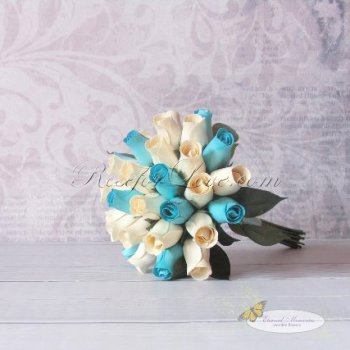 Wooden Rose White and Light Blue Bridal Bouquet
