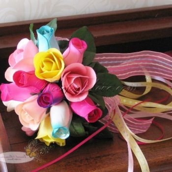 Wooden Rose Multi-Color Flower Girl Sized Posy Wand