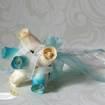 Wooden Rose White and Light Blue Flower Girl Wand
