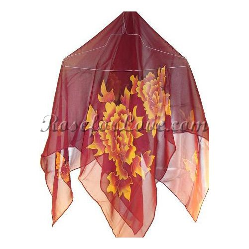 Square Peony Silk Scarf - Click Image to Close
