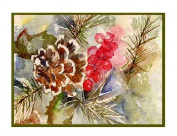 8 Watercolor Pine Cone and Needles Greeting Note Cards