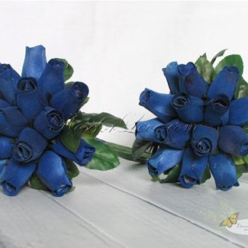 Wooden Rose Blue Bridesmaid Bouquet (a Set of 2)