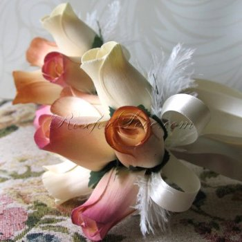 Wooden Rose White and Light Pink Flower Girl Wand