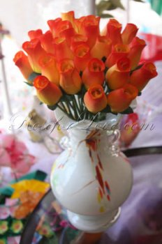 Bouquet of Wooden Rose Sunset Yellow Buds (3 Color Options)