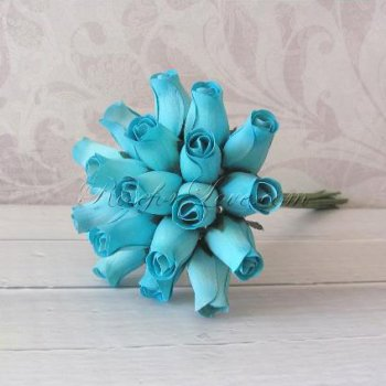 Wooden Rose Blue Bridesmaid Bouquet
