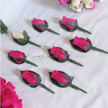 Wooden Rose White and Pink Buttonholes (a Set of 8)