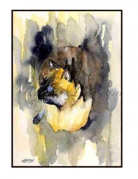 8 Watercolor Siamese Cat Greeting Note Cards