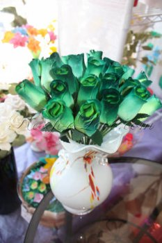 Bouquet of Wooden Rose Green Buds (5 Color Options)